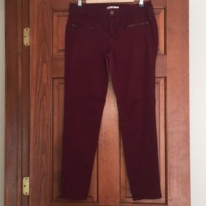 Burgundy Pants with Zipper Accents